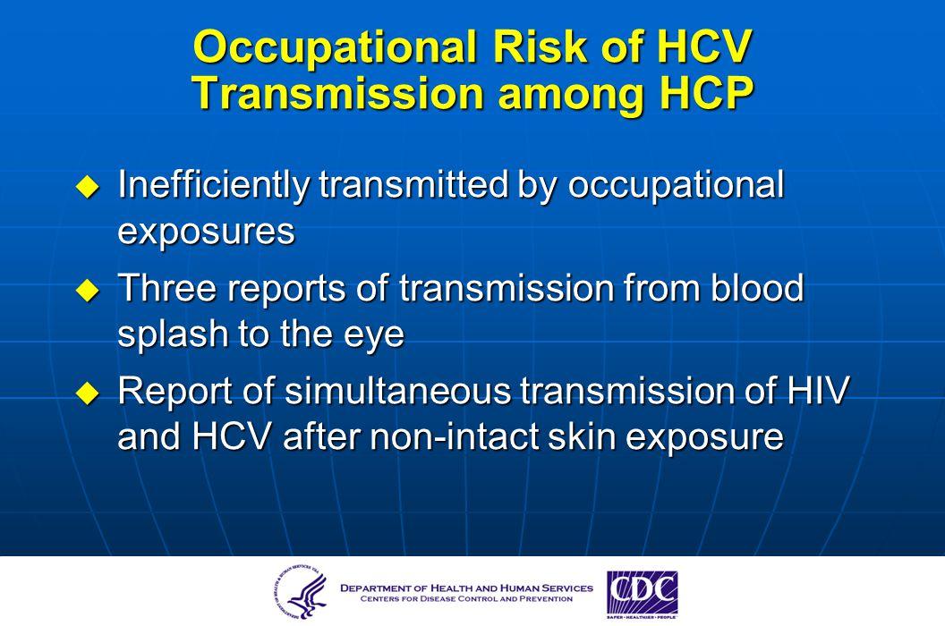 Occupational Risk of HCV Transmission among HCP