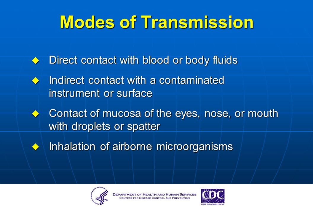 Modes of Transmission Direct contact with blood or body fluids