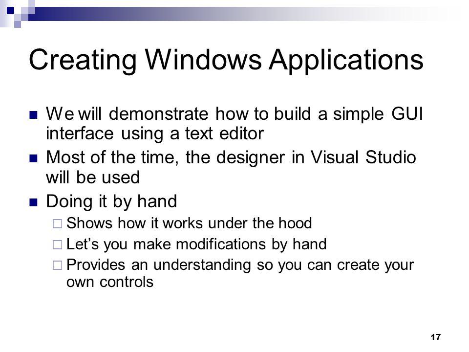 Creating Windows Applications