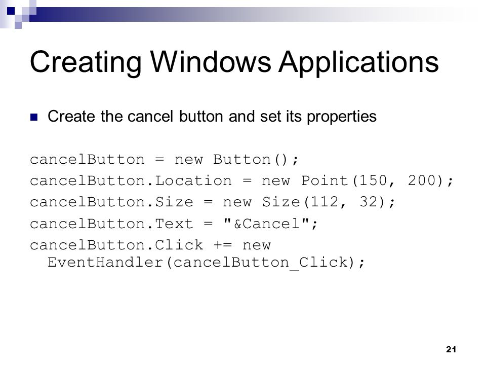 Creating Windows Applications