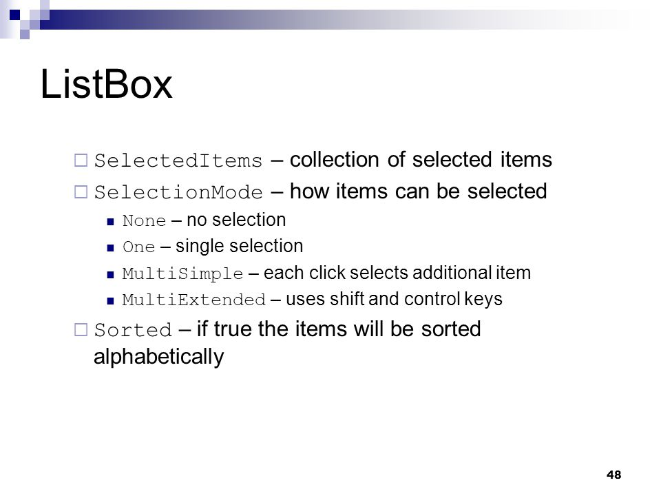 ListBox SelectedItems – collection of selected items