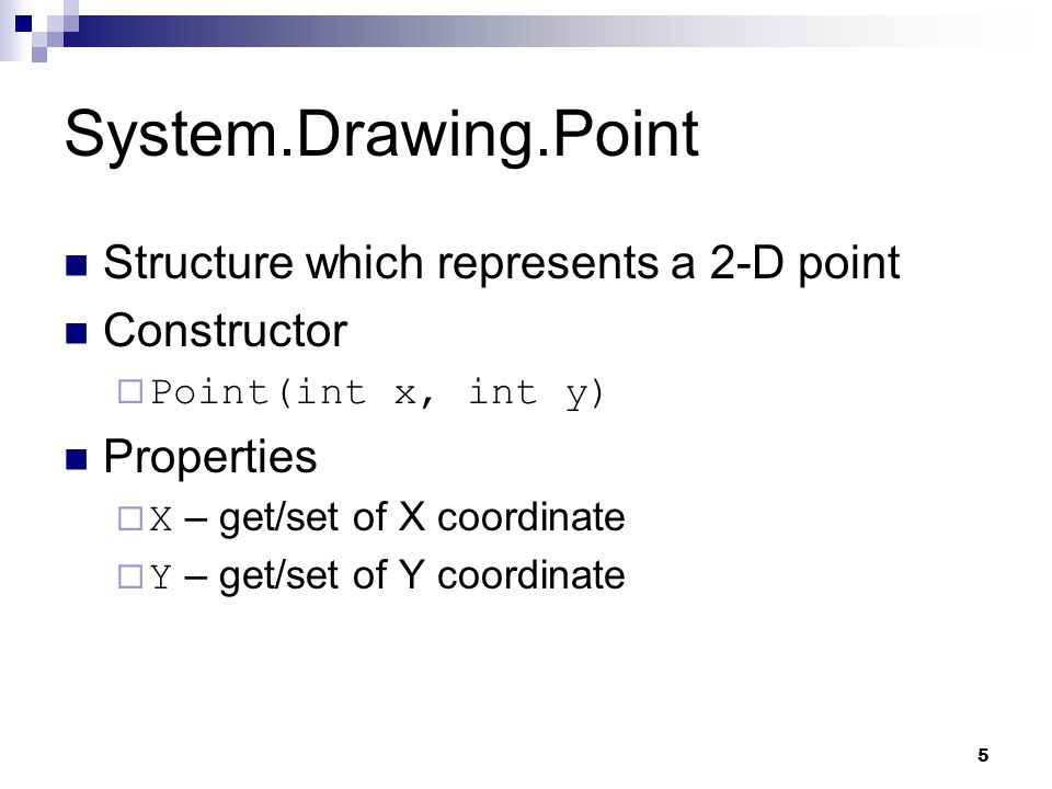 System.Drawing.Point Structure which represents a 2-D point