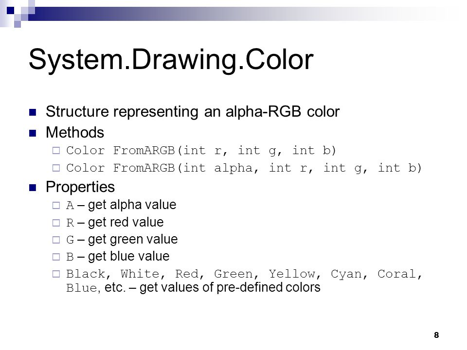 System.Drawing.Color Structure representing an alpha-RGB color Methods