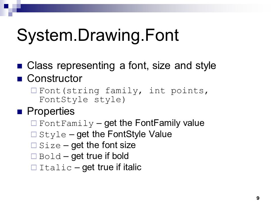 System.Drawing.Font Class representing a font, size and style