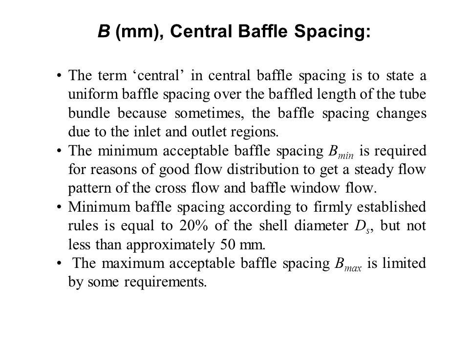 B (mm), Central Baffle Spacing: