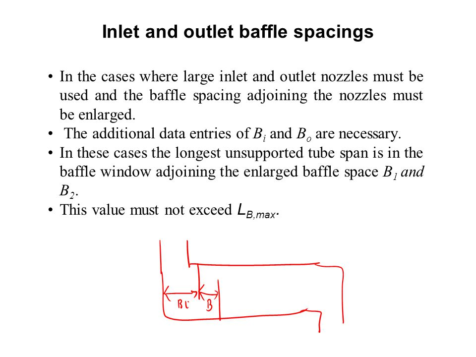 Inlet and outlet baffle spacings
