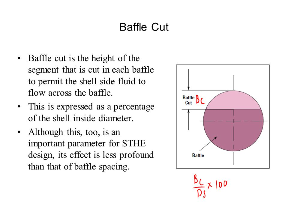 Baffle Cut Baffle cut is the height of the segment that is cut in each baffle to permit the shell side fluid to flow across the baffle.