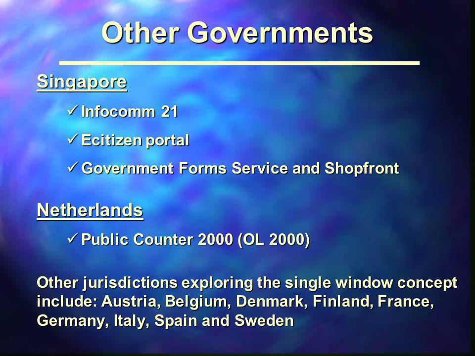 Other Governments Singapore Netherlands Infocomm 21 Ecitizen portal