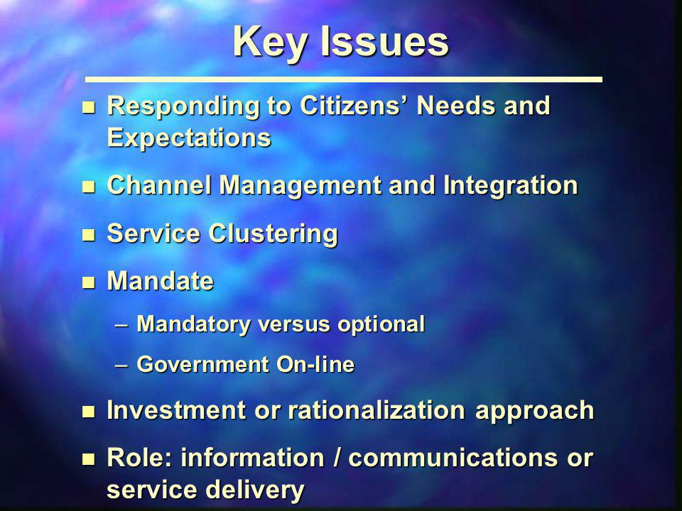 Key Issues Responding to Citizens' Needs and Expectations