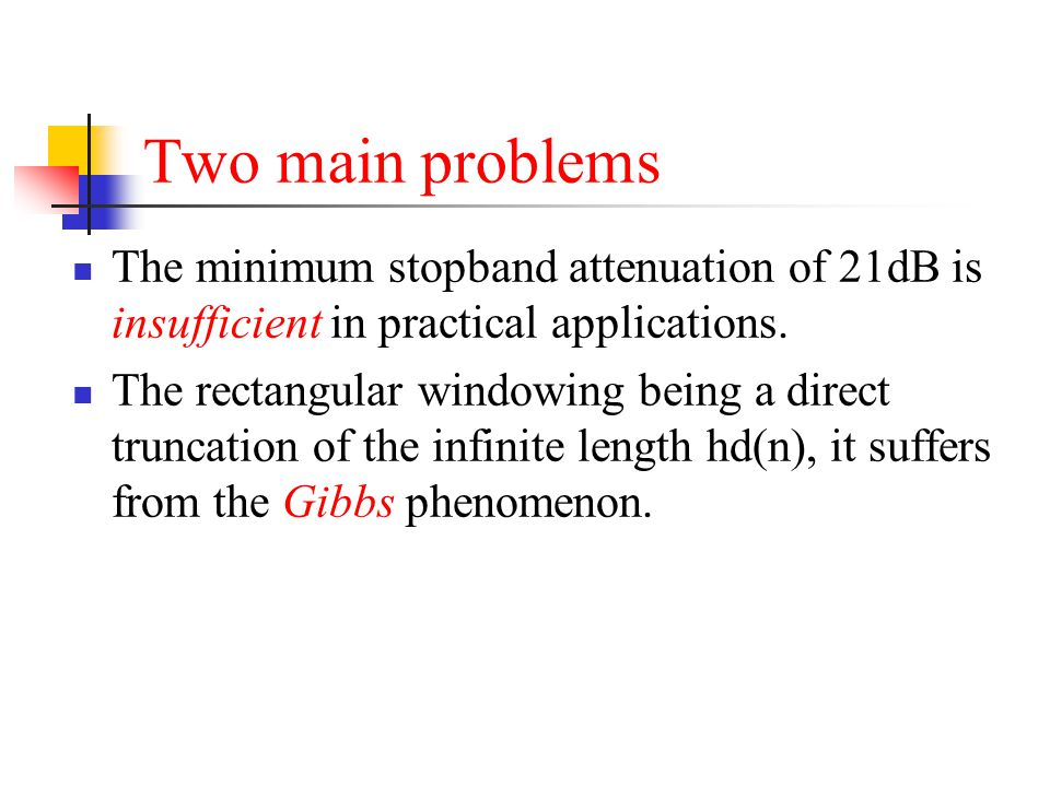 Two main problems The minimum stopband attenuation of 21dB is insufficient in practical applications.