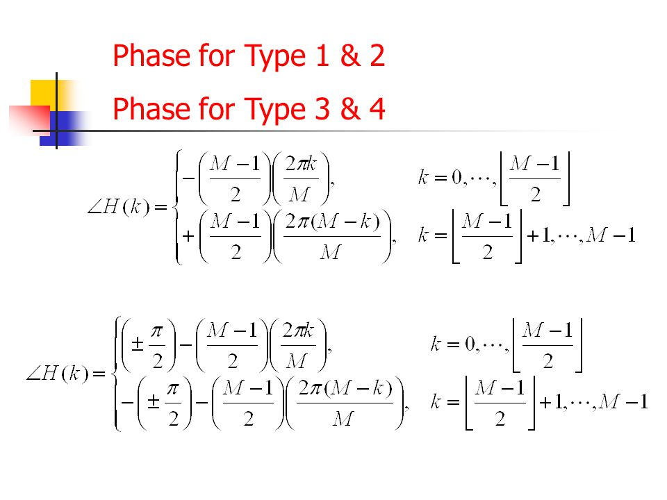 Phase for Type 1 & 2 Phase for Type 3 & 4