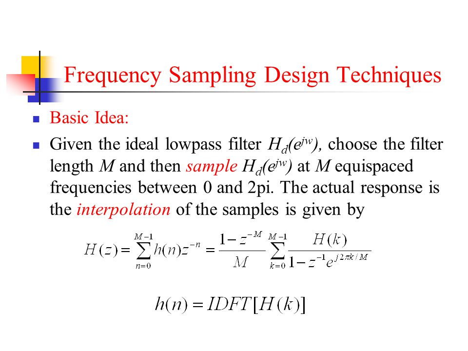 Frequency Sampling Design Techniques