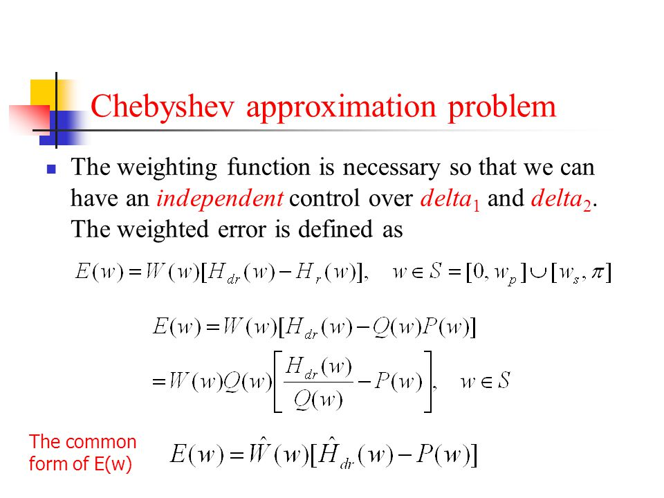 Chebyshev approximation problem