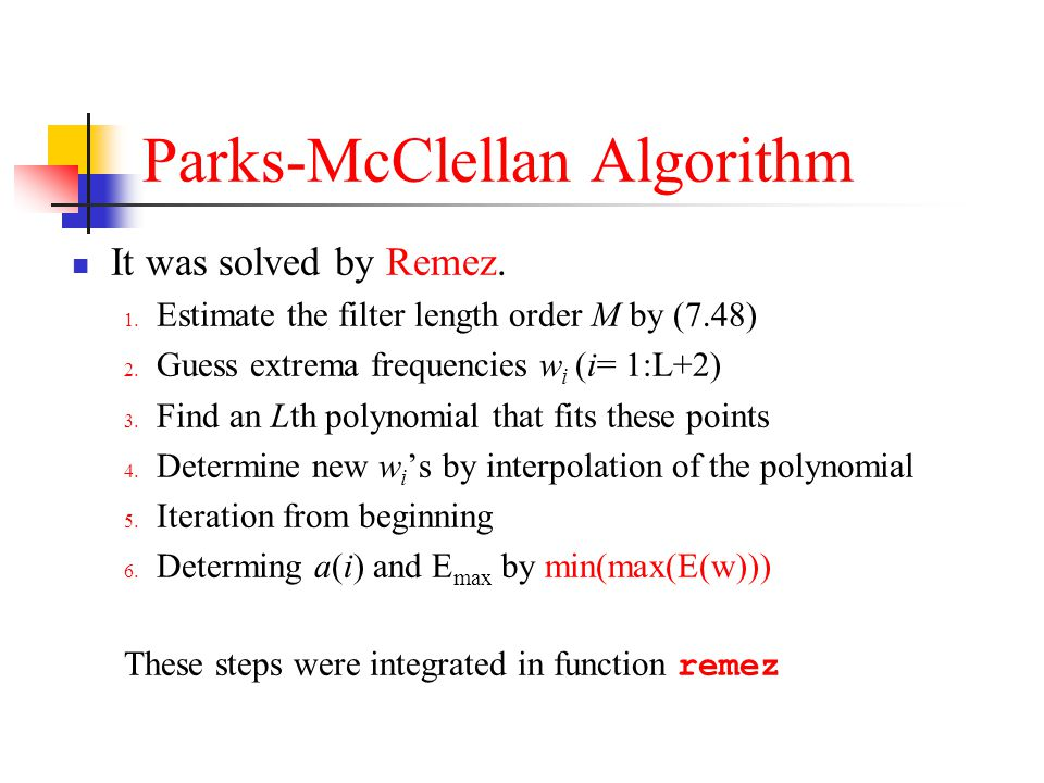 Parks-McClellan Algorithm