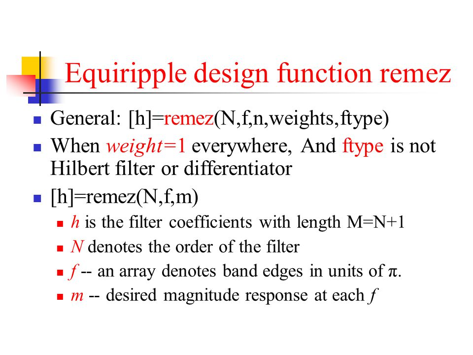 Equiripple design function remez