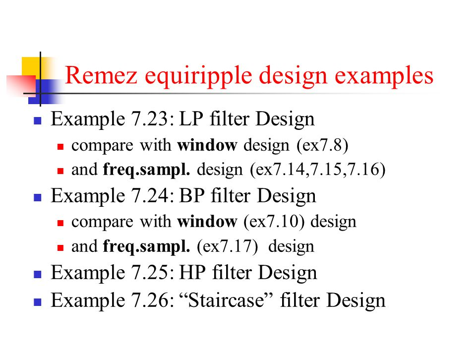 Remez equiripple design examples