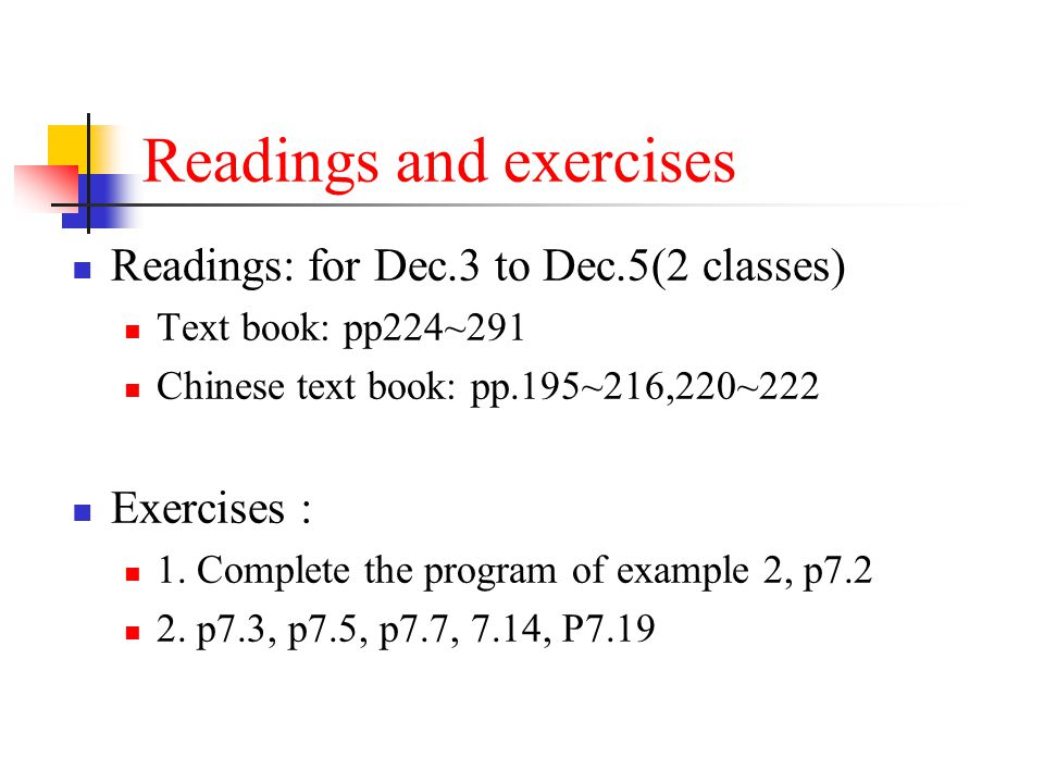 Readings and exercises