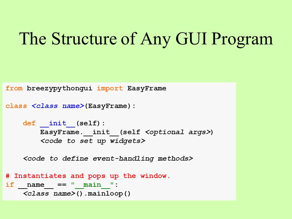 The Structure of Any GUI Program