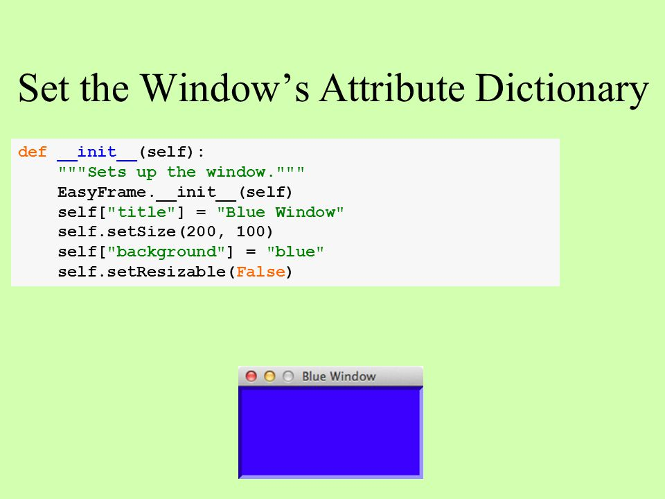 Set the Window's Attribute Dictionary