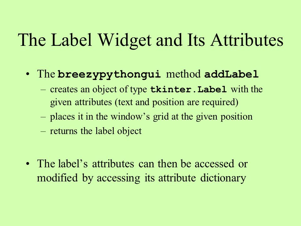 The Label Widget and Its Attributes
