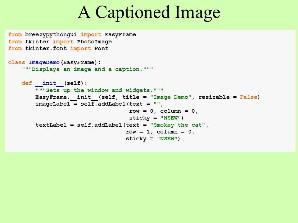 A Captioned Image from breezypythongui import EasyFrame