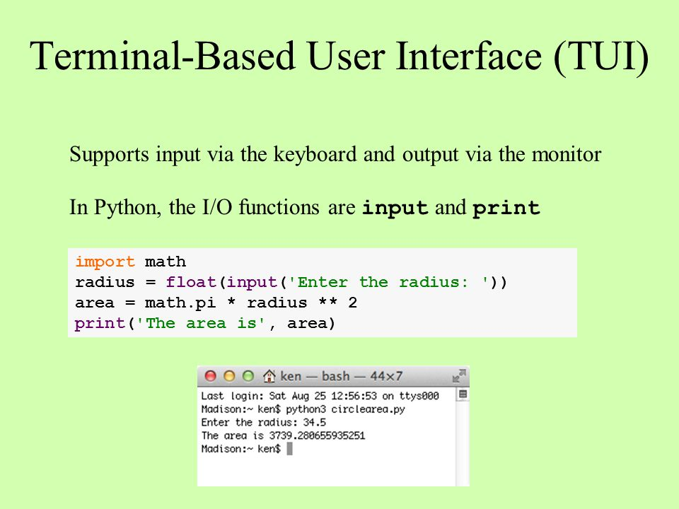 Terminal-Based User Interface (TUI)