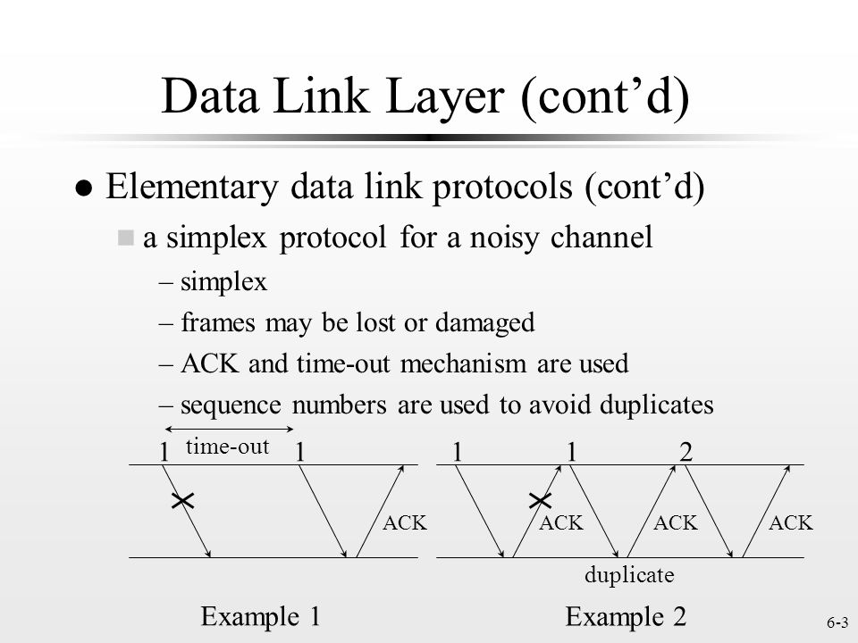 Data Link Layer (cont'd)