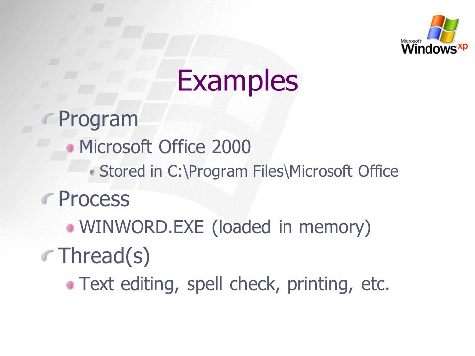 Examples Program Process Thread(s) Microsoft Office 2000