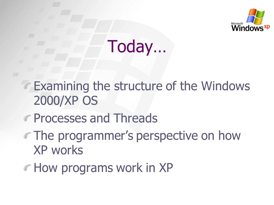 Today… Examining the structure of the Windows 2000/XP OS