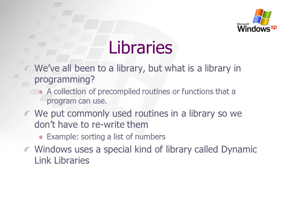 Libraries We've all been to a library, but what is a library in programming