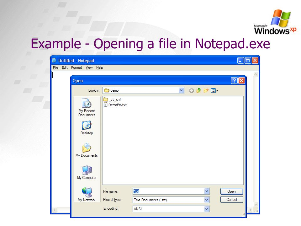 Example - Opening a file in Notepad.exe