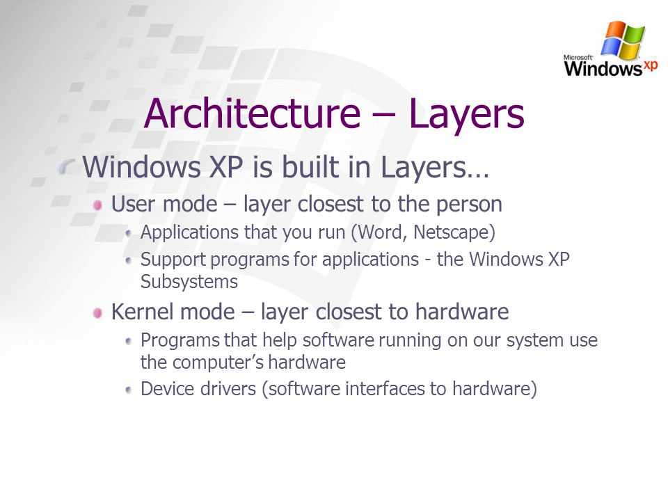 Architecture – Layers Windows XP is built in Layers…