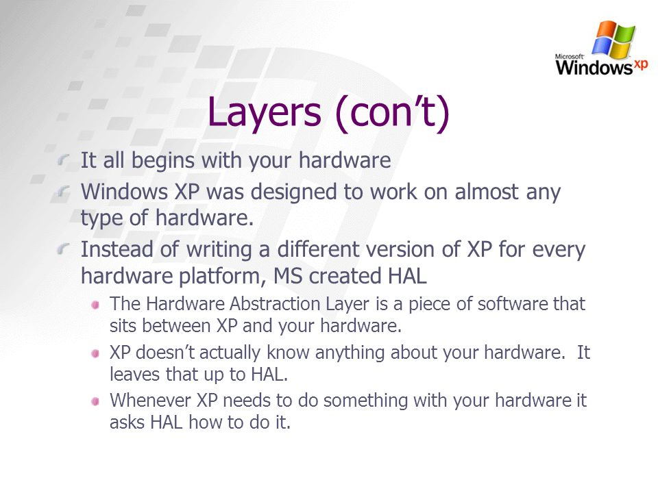 Layers (con't) It all begins with your hardware