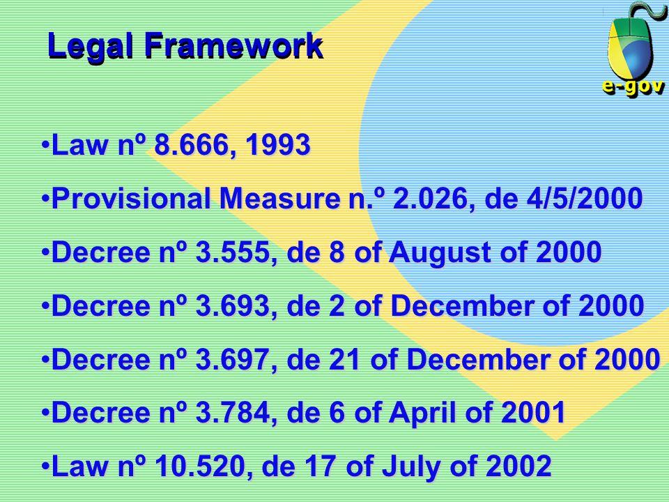 Legal Framework Law nº 8.666, 1993. Provisional Measure n.º 2.026, de 4/5/2000. Decree nº 3.555, de 8 of August of 2000.
