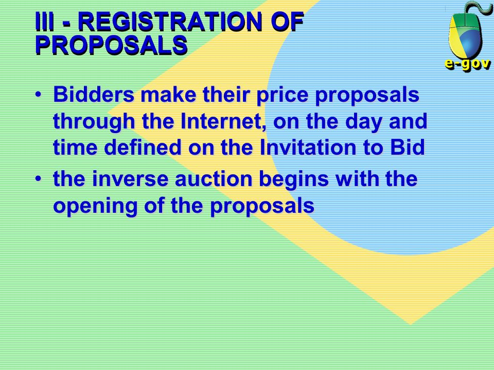 III - REGISTRATION OF PROPOSALS