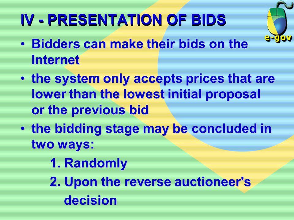 IV - PRESENTATION OF BIDS