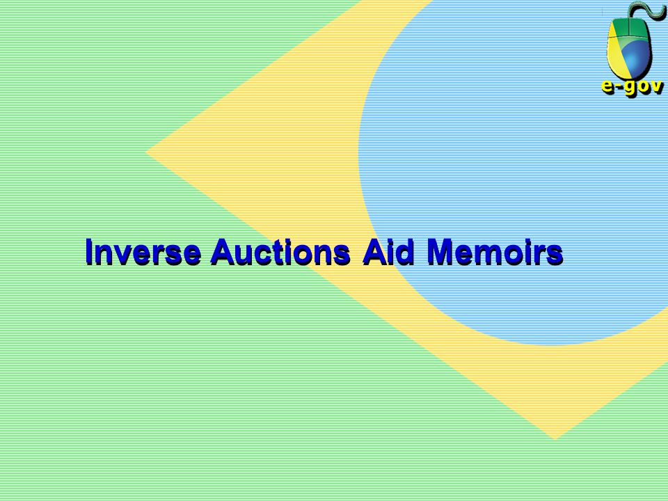 Inverse Auctions Aid Memoirs