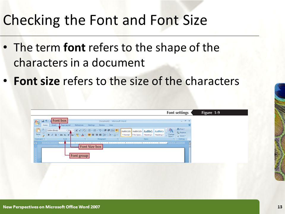 Checking the Font and Font Size