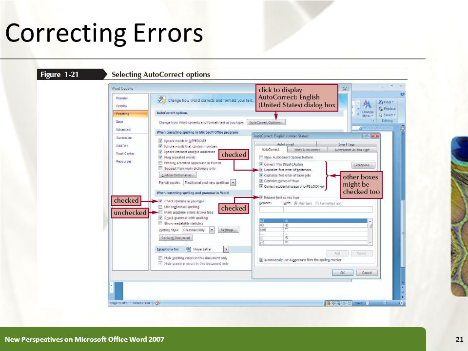Correcting Errors New Perspectives on Microsoft Office Word 2007