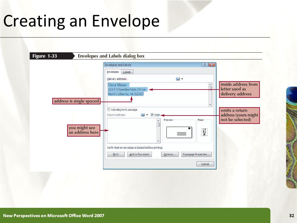 Creating an Envelope New Perspectives on Microsoft Office Word 2007