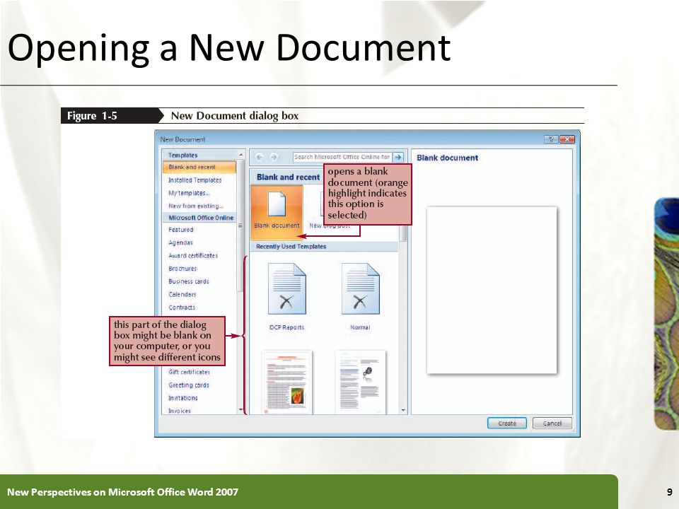 Opening a New Document New Perspectives on Microsoft Office Word 2007