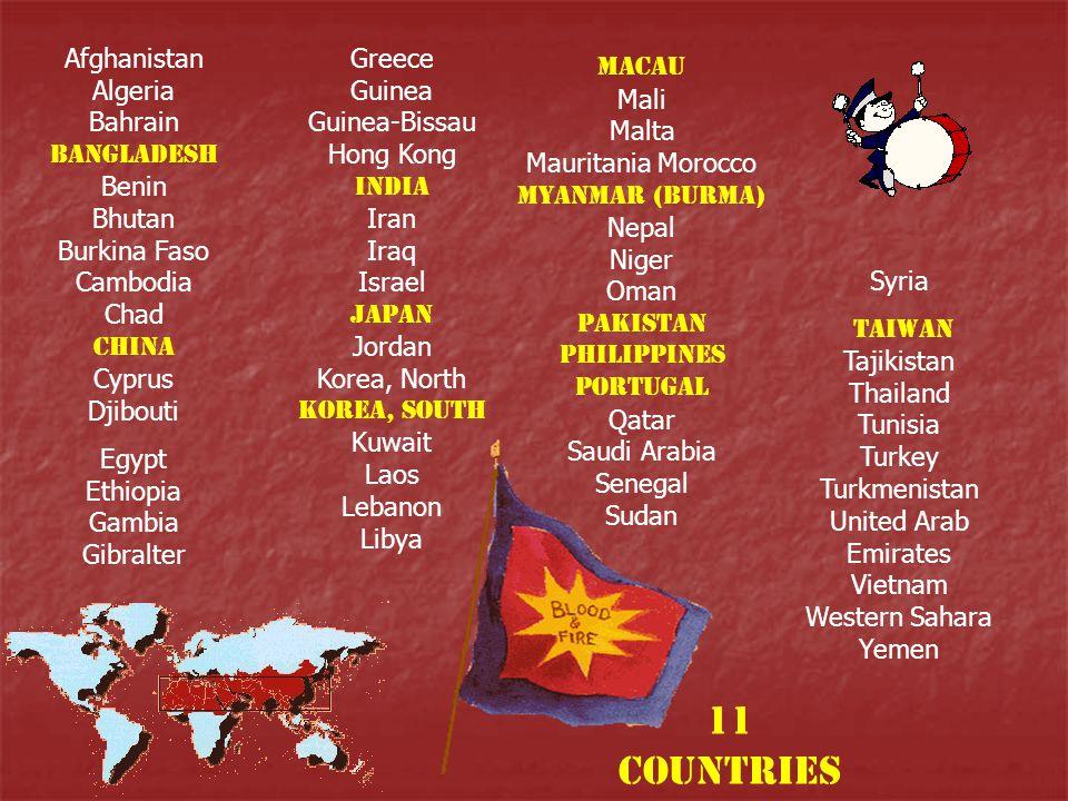 Afghanistan Algeria Bahrain Bangladesh Benin Bhutan Burkina Faso Cambodia Chad China Cyprus Djibouti