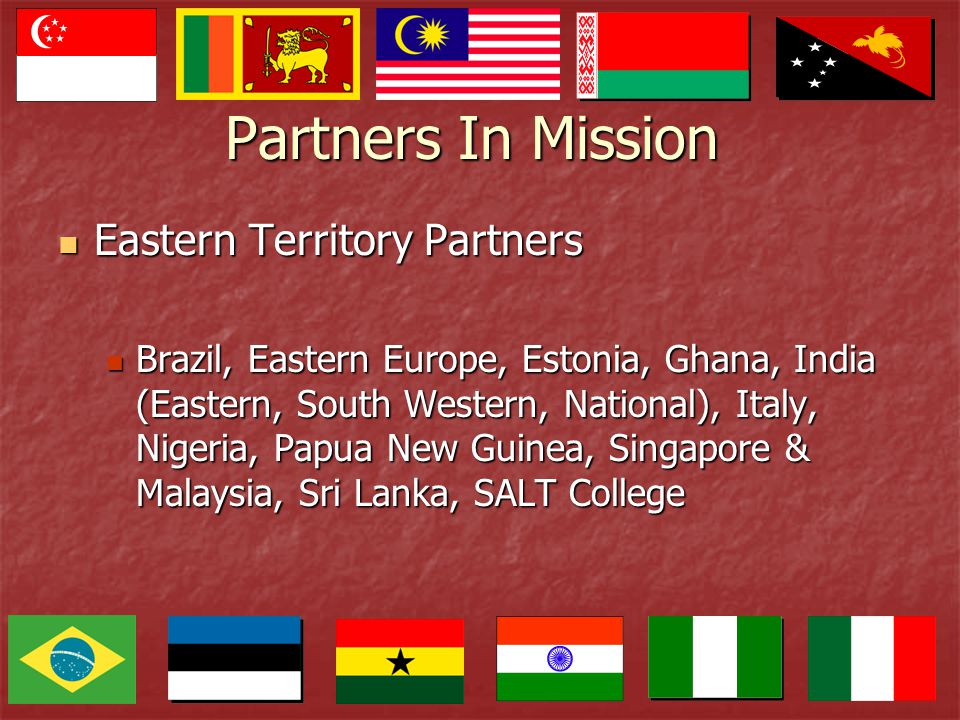 Partners In Mission Eastern Territory Partners