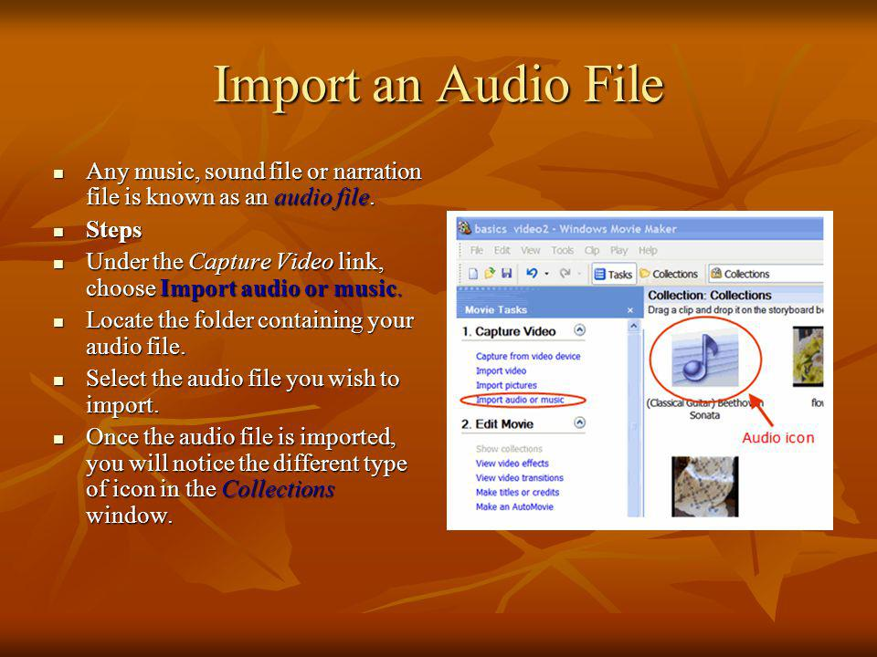 Import an Audio File Any music, sound file or narration file is known as an audio file. Steps.