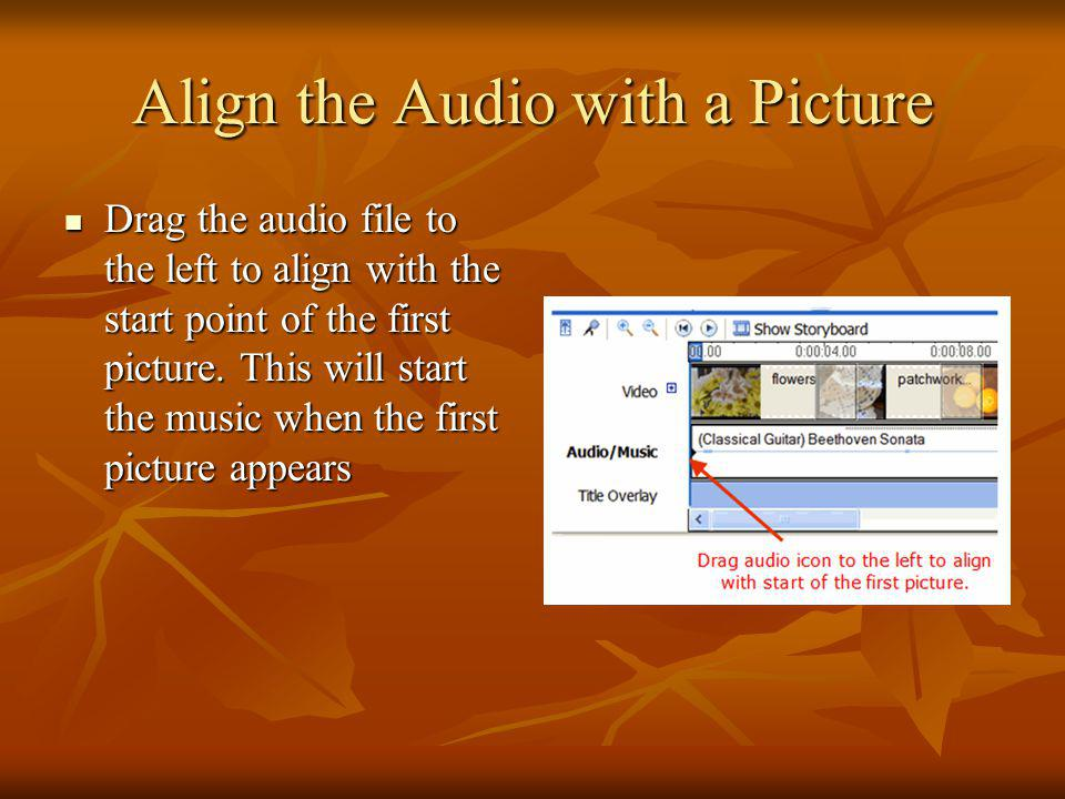 Align the Audio with a Picture