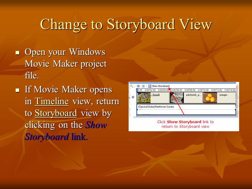Change to Storyboard View