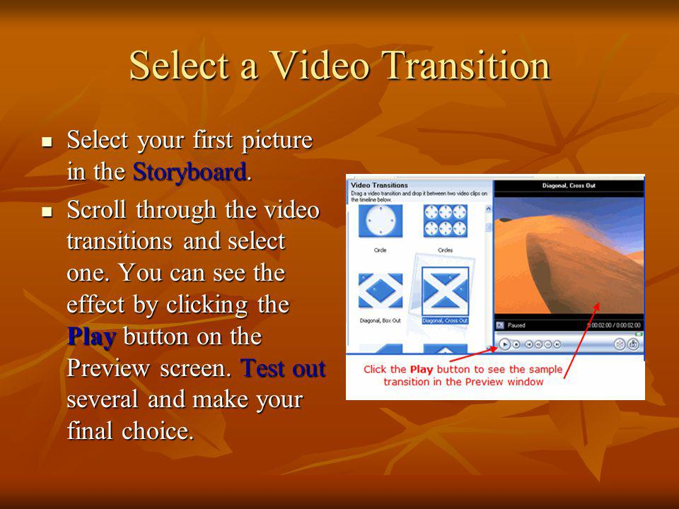 Select a Video Transition