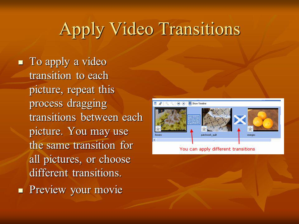 Apply Video Transitions