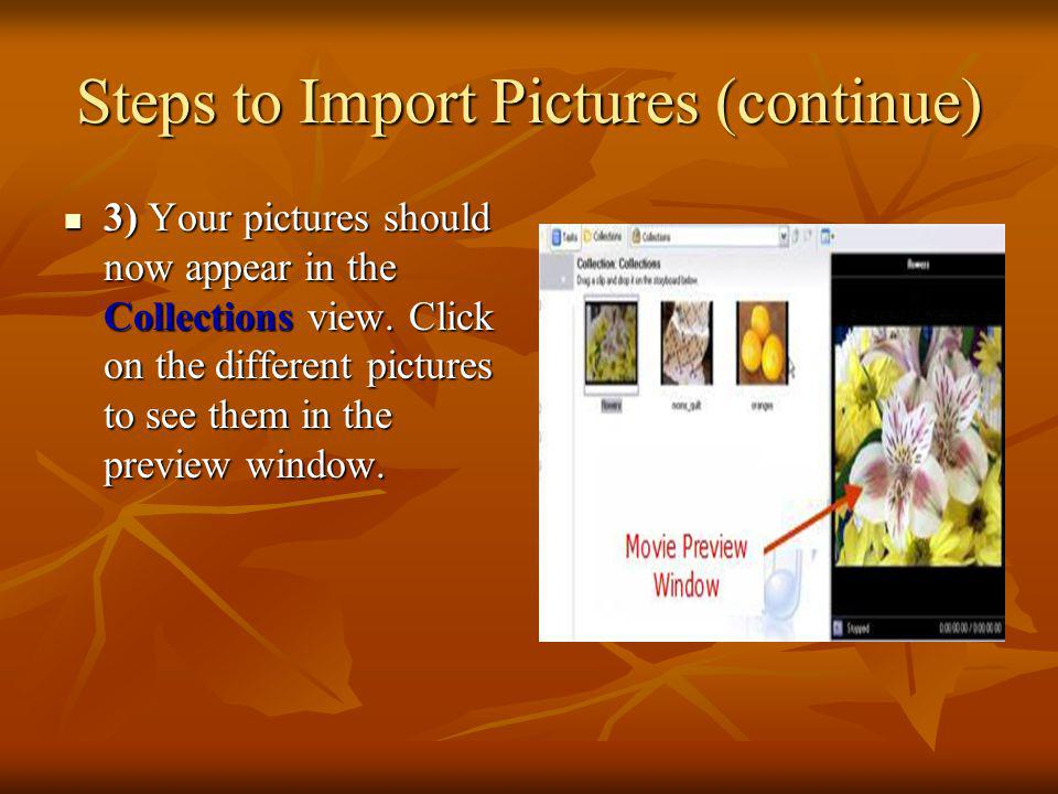 Steps to Import Pictures (continue)