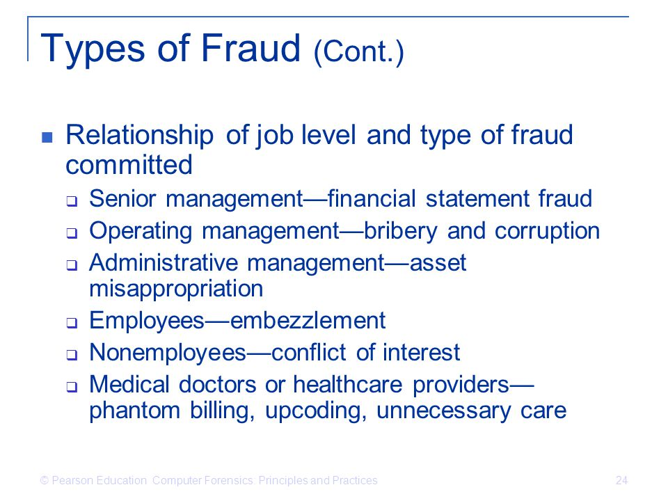 Types of Fraud (Cont.) Relationship of job level and type of fraud committed. Senior management—financial statement fraud.